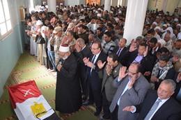 جنازة عسكرية وشعبية لشهيد بنى سويف فى سيناء