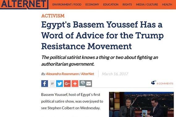 """باسم يوسف في لقاء مع مقدم برنامج """"لايت نايت شو"""" ستيفن كولبير"""