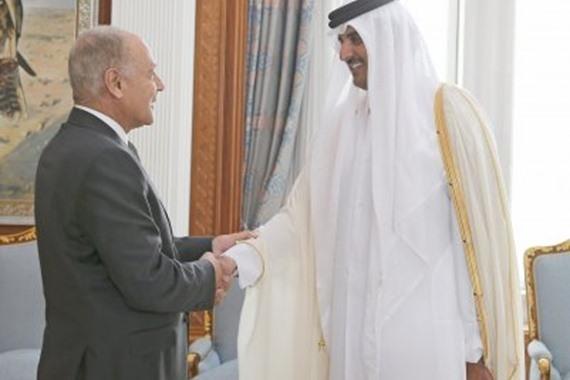 أمير قطر يستقبل أبو الغيط